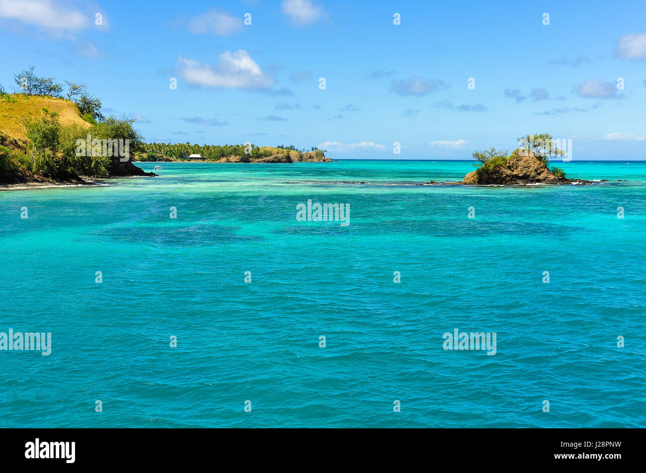 Small island near Nacula Island, part of the Yasawa Island group in Fiji - Stock Image