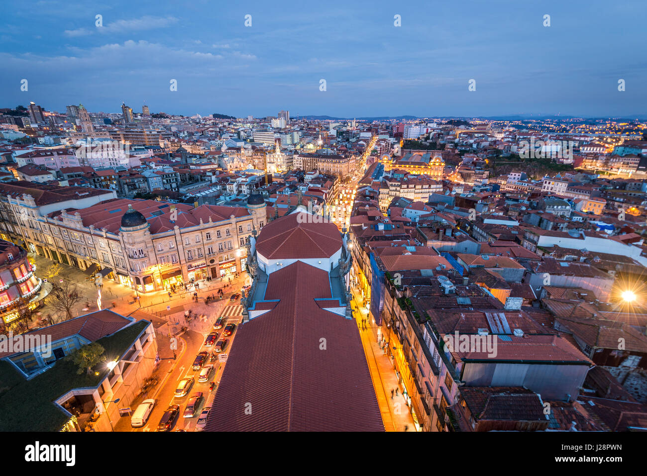 Evening in Porto, second largest city in Portugal. Aerial view from bell tower of Clerigos Church - Stock Image