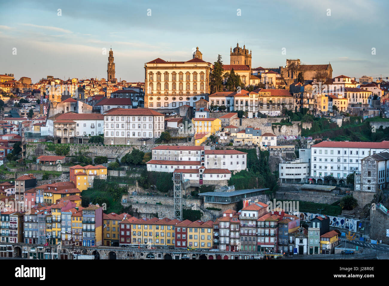 Bishop's Palace, Clerigos church tower and Se Cathedral in Porto city, second largest city in Portugal. View - Stock Image