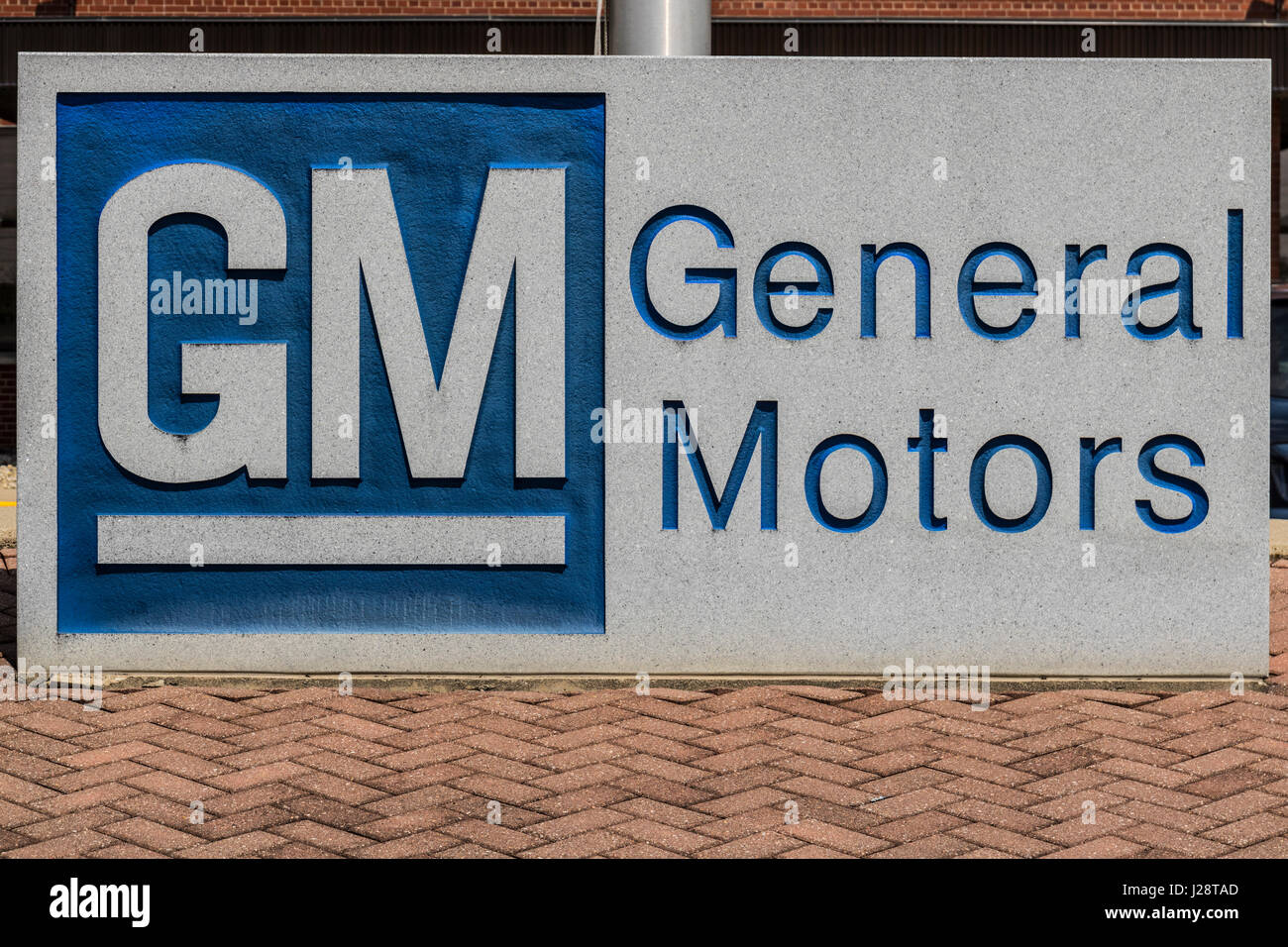 Marion - Circa April 2017: General Motors Logo and Signage at the Metal Fabricating Division. GM opened this plant - Stock Image
