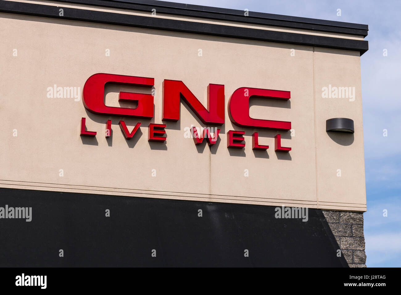 Marion - Circa April 2017: GNC health and nutrition retail strip mall location. GNC is partially owned by the Ontario - Stock Image