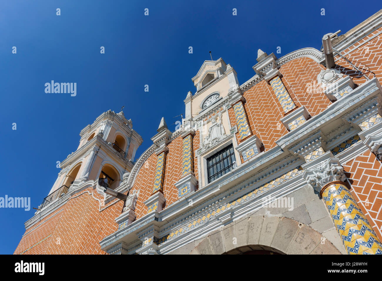 Exterior  view of beautiful church at Puebla, Mexico - Stock Image