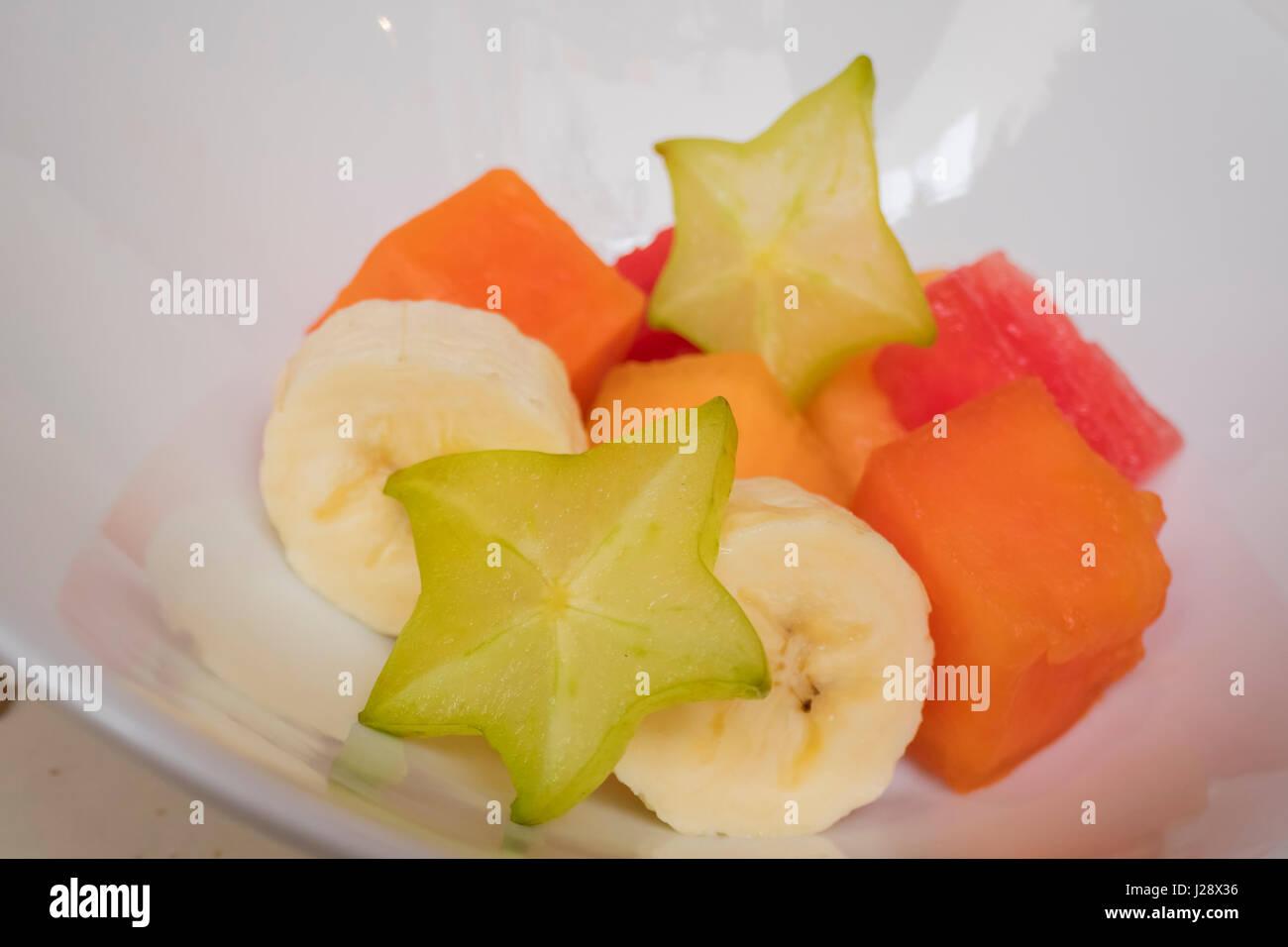 Fresh fruits pieces, ate at Puebla, Mexico - Stock Image