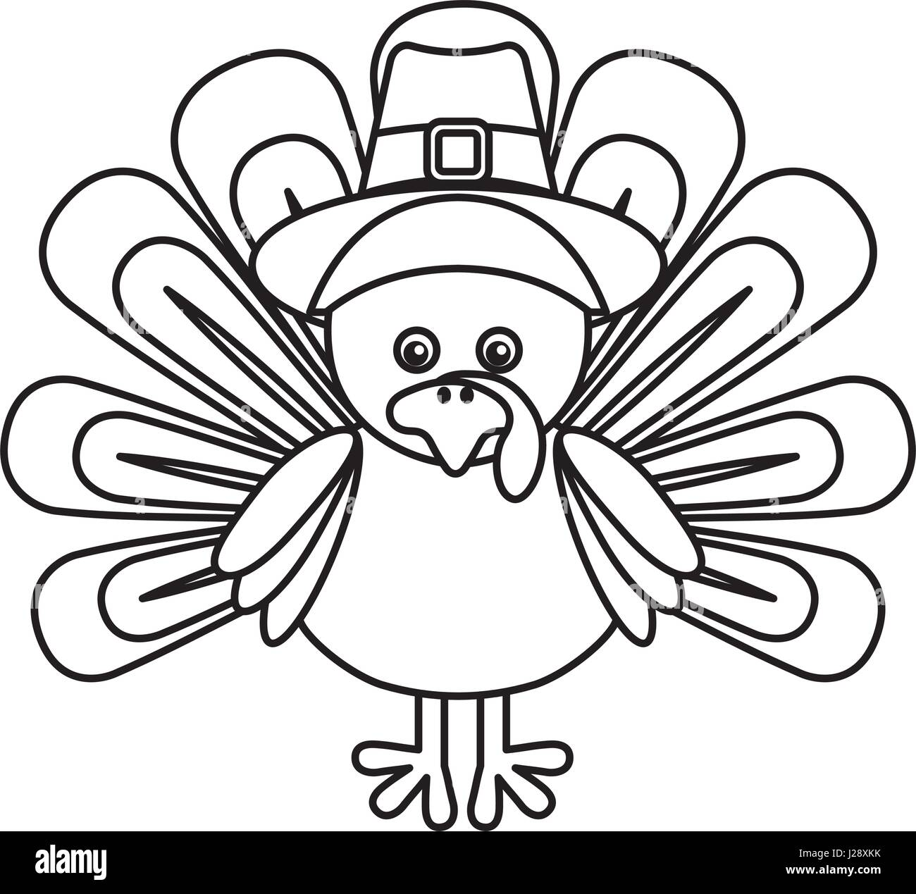 Thanksgiving turkey character icon - Stock Image