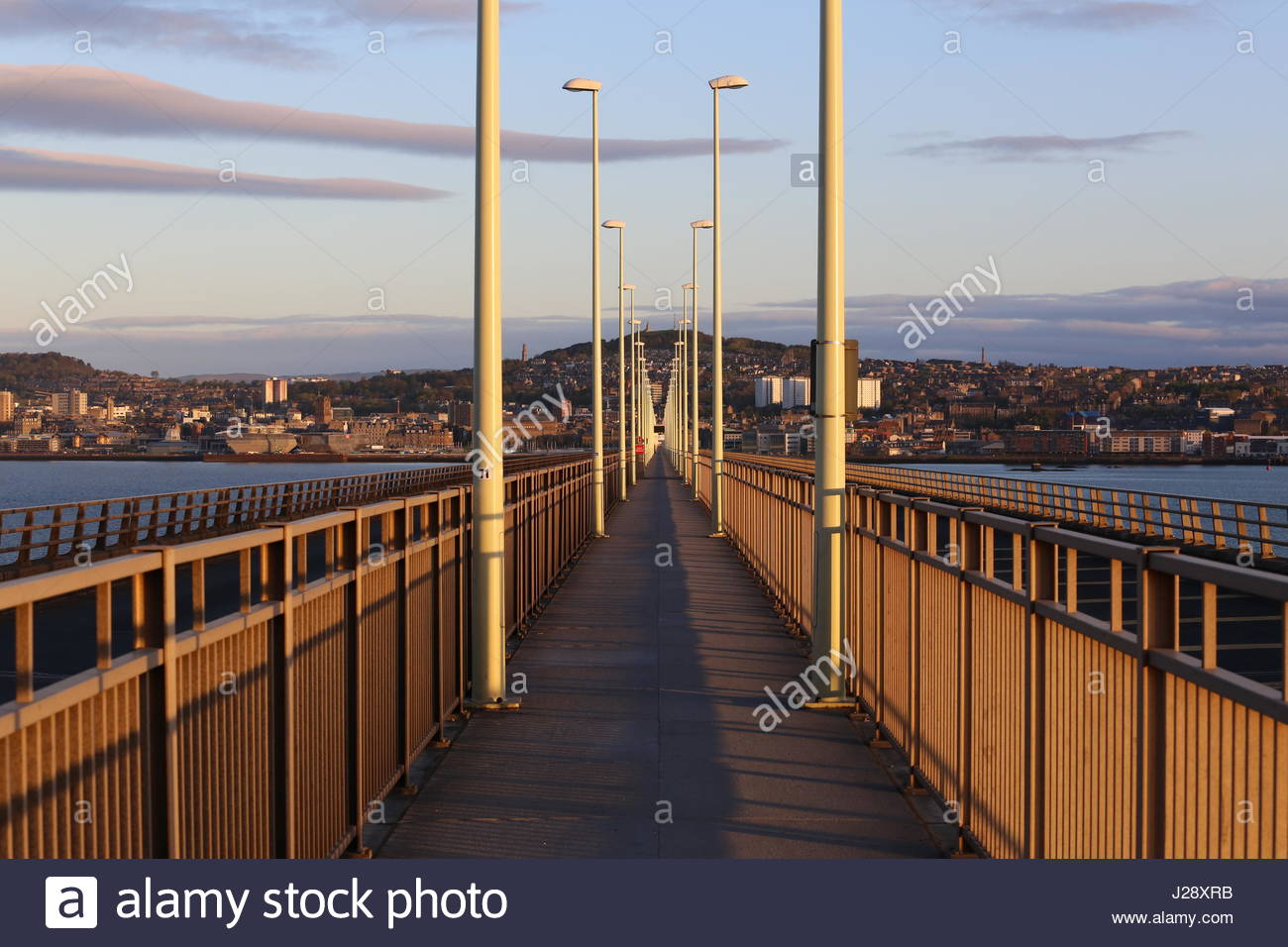 Dundee waterfront from Tay Road bridge at dawn Scotland  April 2017 - Stock Image