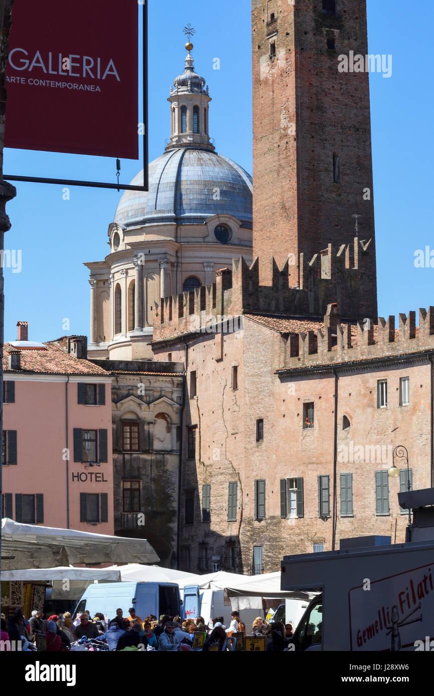 Mantua, Italy, Piazza Sordello, view from Palazzo Ducale to the dome of the Basilica Sant'Andrea and Torre della - Stock Image