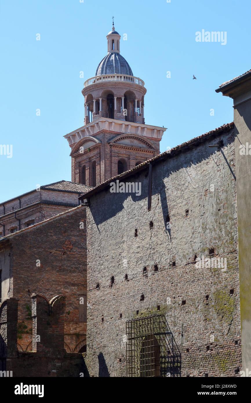 Mantua, IItaly, Palazzo Ducale and belltower of Santa Barbara - Stock Image
