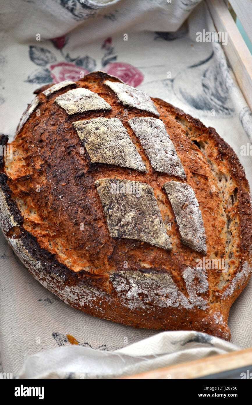 An artisanal bread in a rustic traditional bakery. A buttermilk and pumpkin seed loaf. - Stock Image