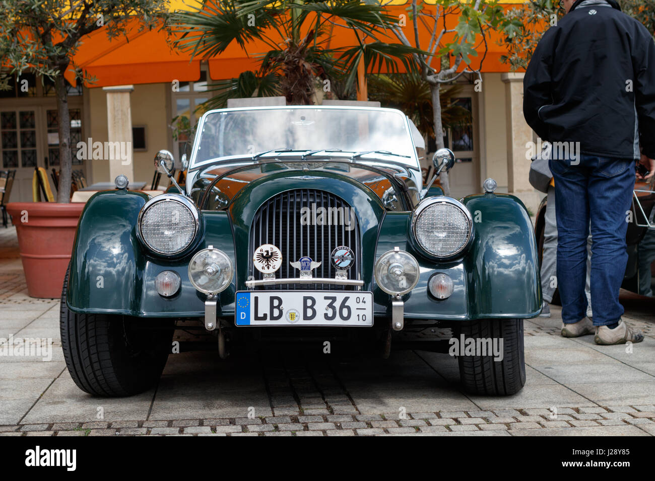 LUDWIGSBURG, GERMANY - APRIL 23, 2017: Morgan oldtimer car at the eMotionen event on April 23, 2017 in Ludwigsburg, - Stock Image