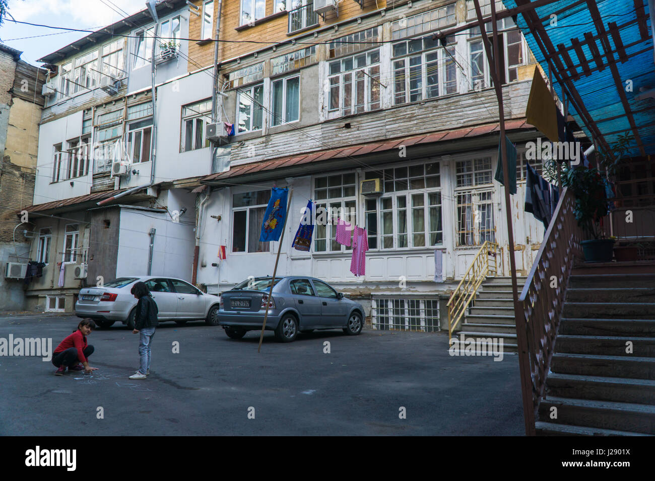TBILISI, GEORGIA-SEP 25, 2016: Typical courtyard in the heart of the old town. Stock Photo