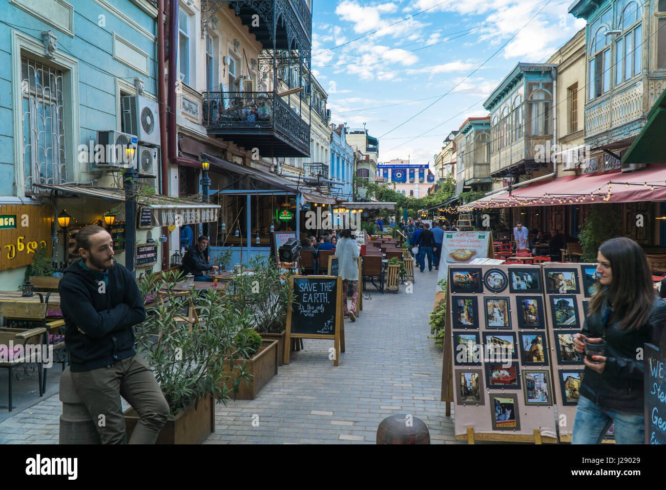TBILISI, GEORGIA-SEP 25, 2016: People on a pedestrian street Sioni in heart of the old town. Stock Photo