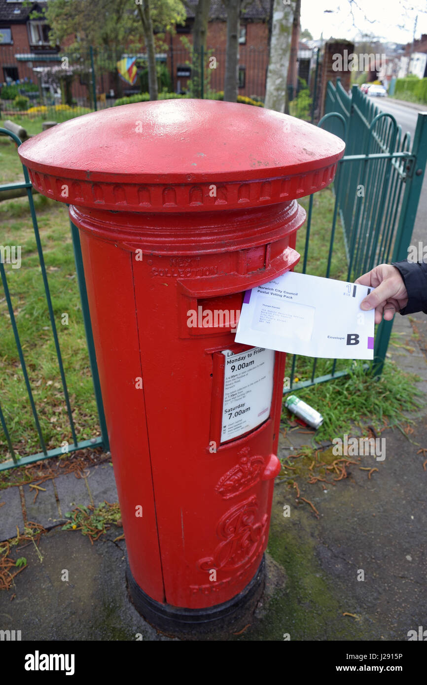 Postal vote for local elections on 4 May, Norwich UK April 2017. MR Stock Photo