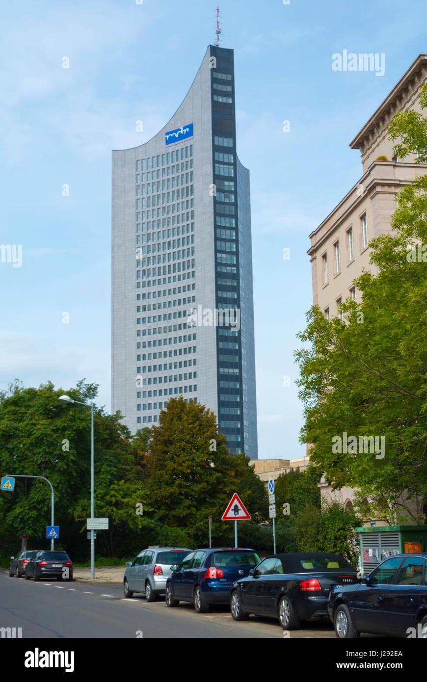 City-Hochhaus, Panorama Tower, Augustusplatz, Leipzig, Saxony, Germany - Stock Image