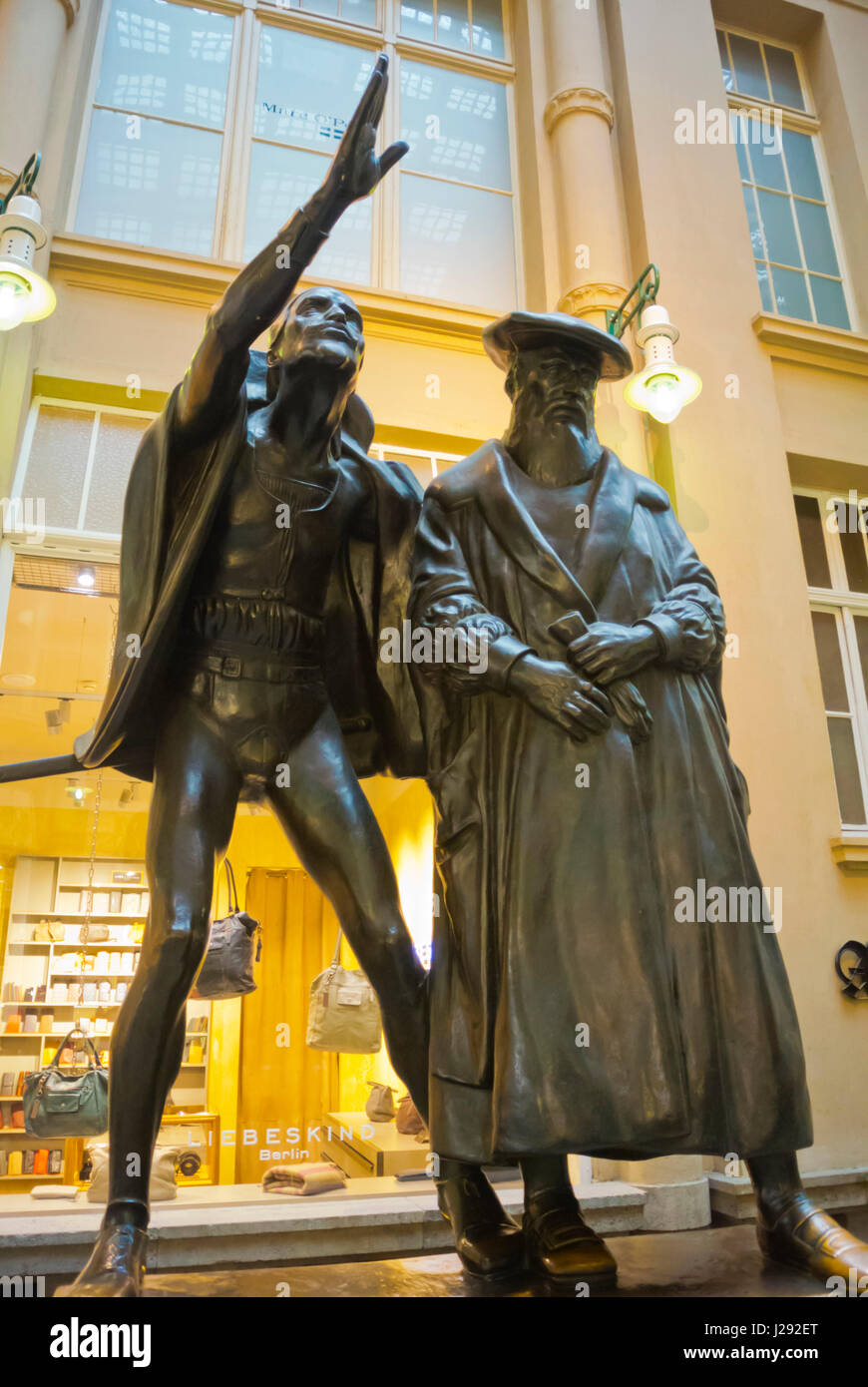 Statue of Faust and Mephistopheles, in front of Auerbachs Keller, Mädler-Passage, Altstadt, old town, Leipzig, - Stock Image