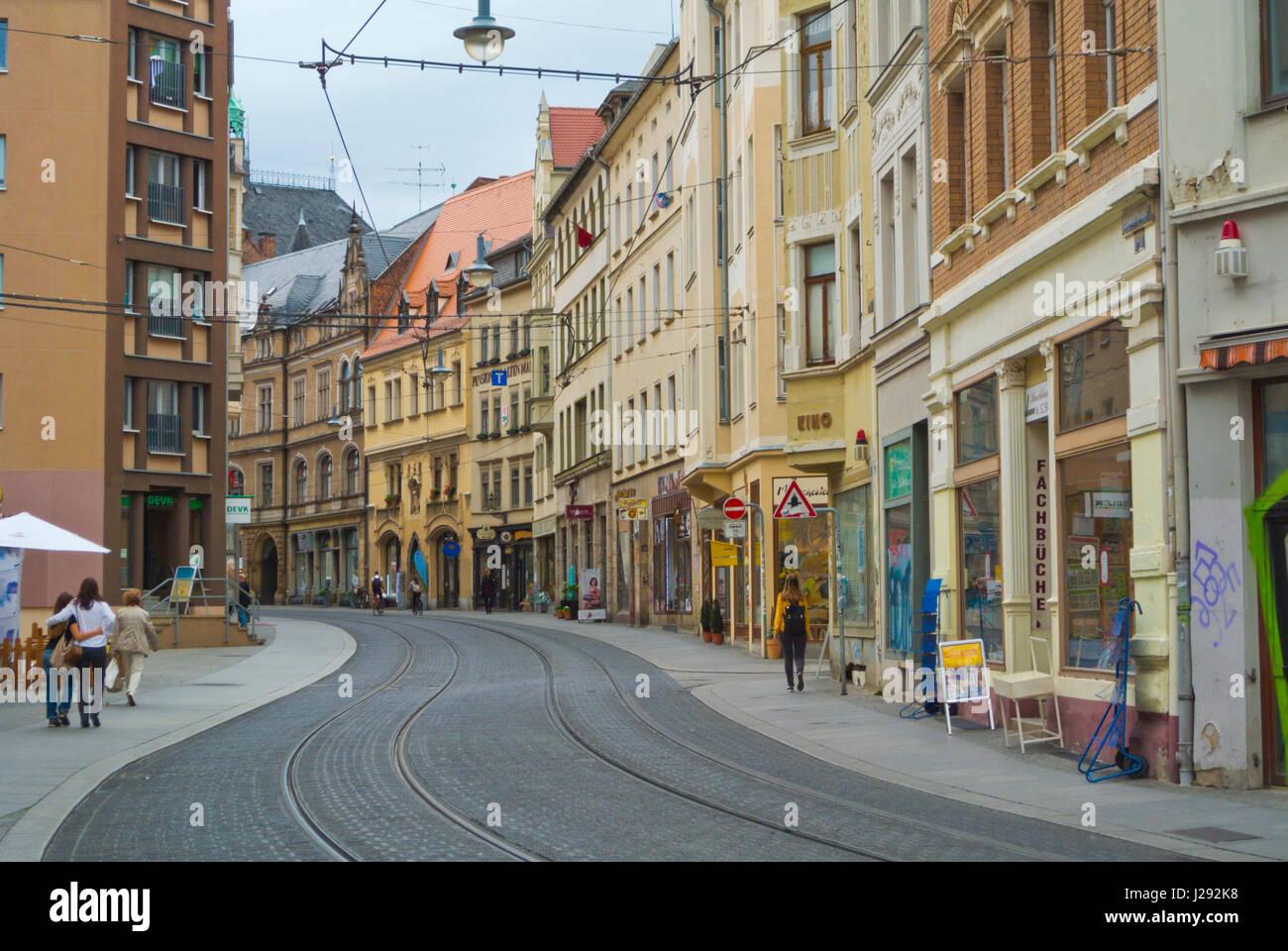Schmeerstrasse, Altstadt, old town, Halle, Saxony-Anhalt, Germany - Stock Image