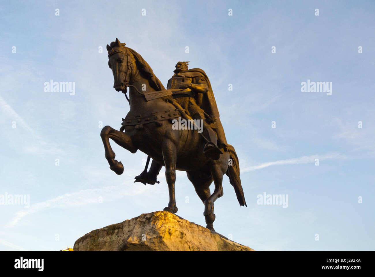 Skanderbeg, George Castriot, Lord of Albania, memorial sculpture, Tirana, Albania - Stock Image