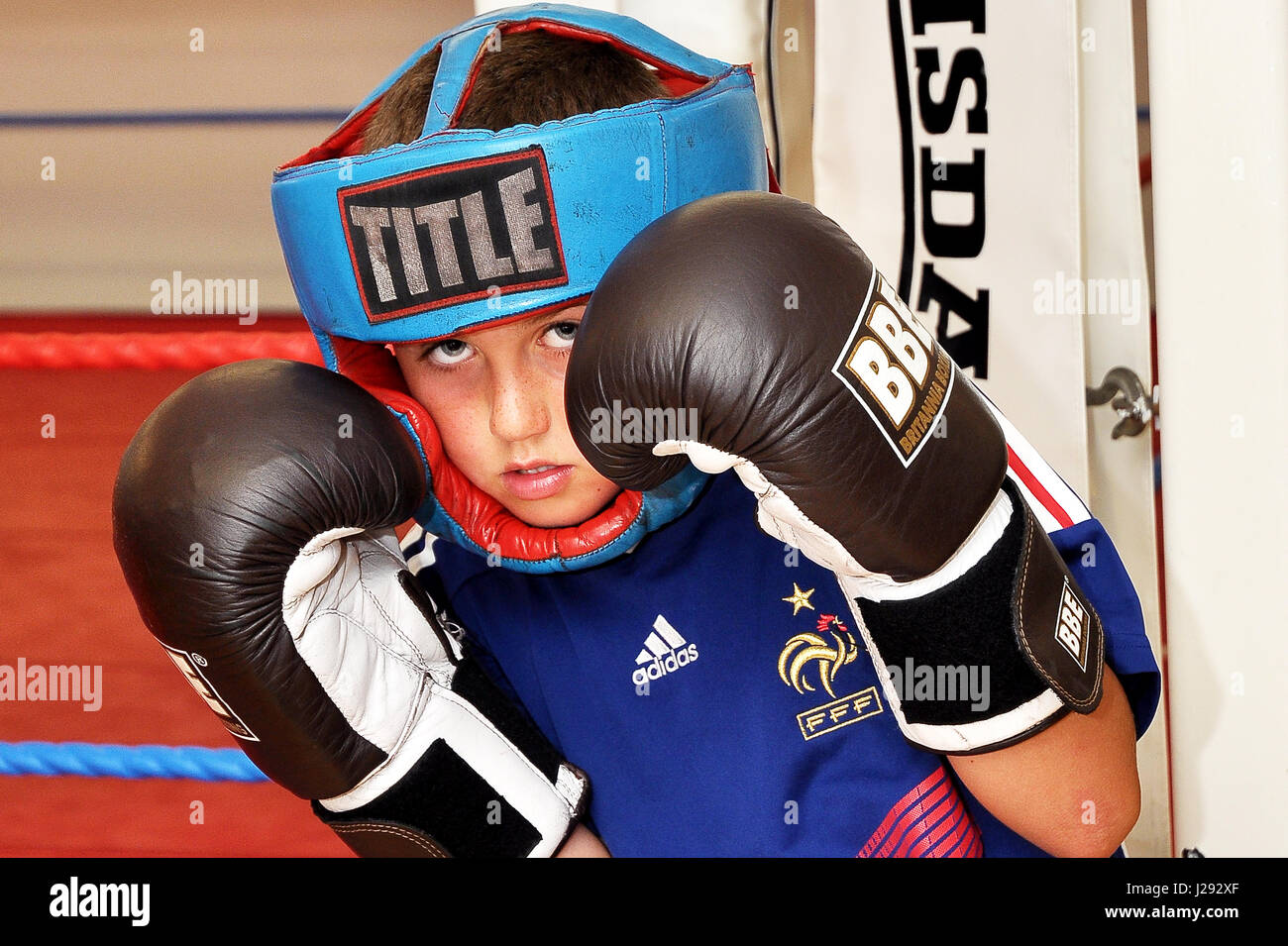 Young amateur boxer before going into the ring to spar. Taken at a gym in the North-east of England - Stock Image