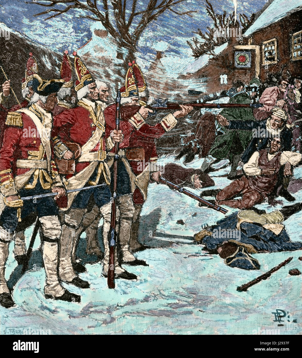 American Revolutionary War (1775-1783). The Boston Massacre or Boston riot (1770). British redcoats killed five - Stock Image