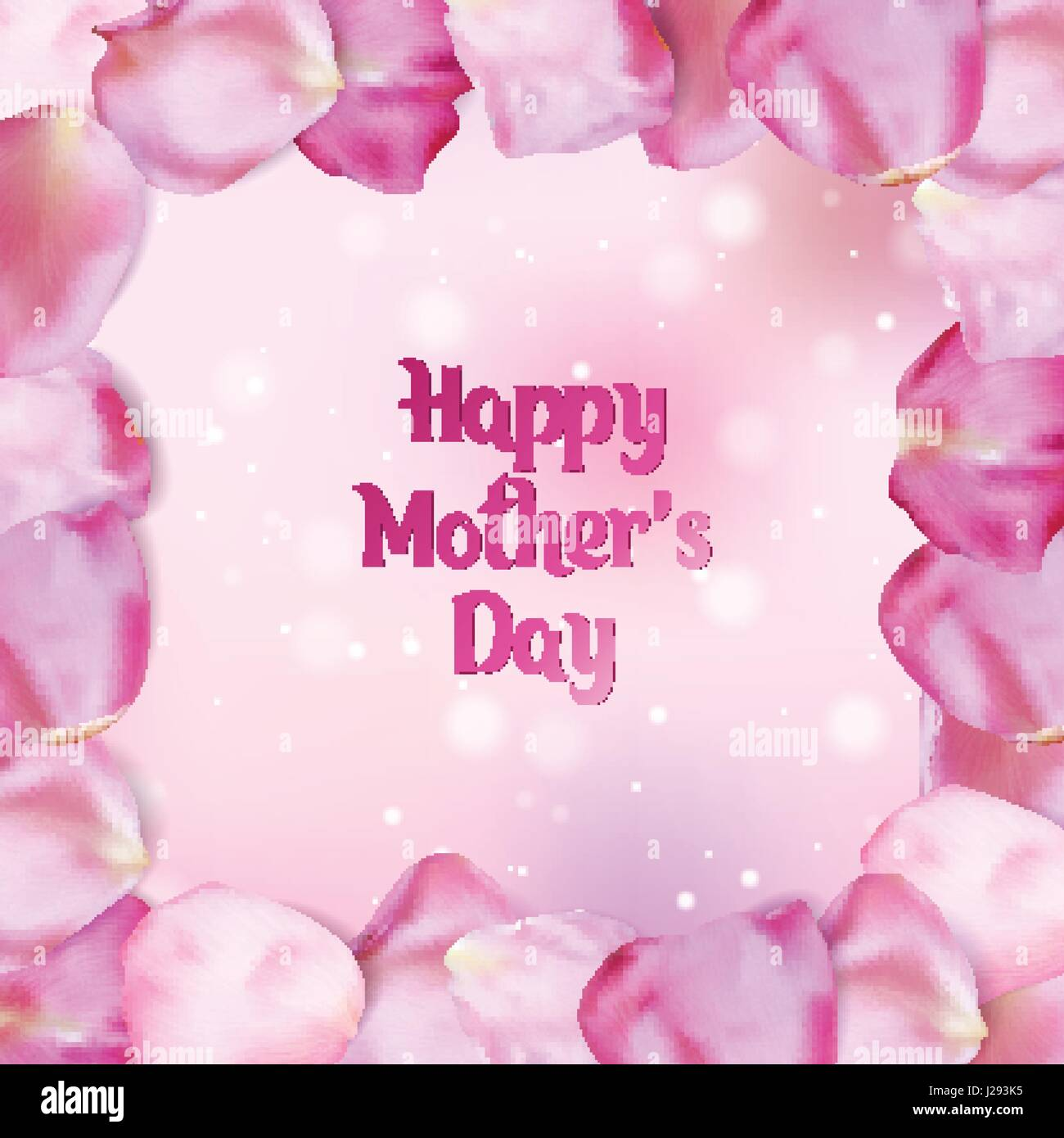 Happy Mothers Day Card Frame Of Pink Rose Petals Vector Stock