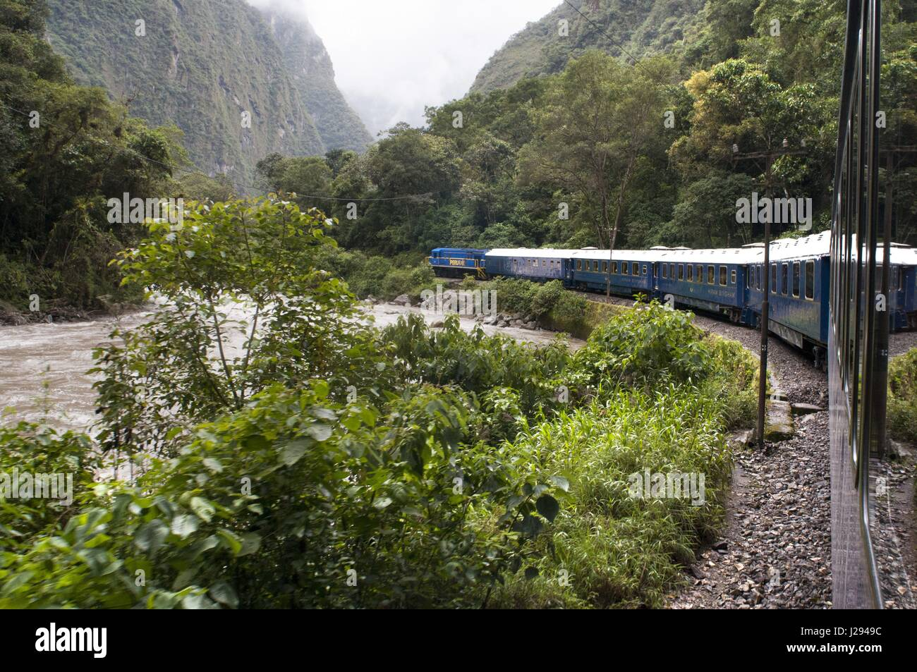 Inca Trail. Peru Luxury train from Cuzco to Machu Picchu. Orient Express. Belmond. Since the route by which the - Stock Image