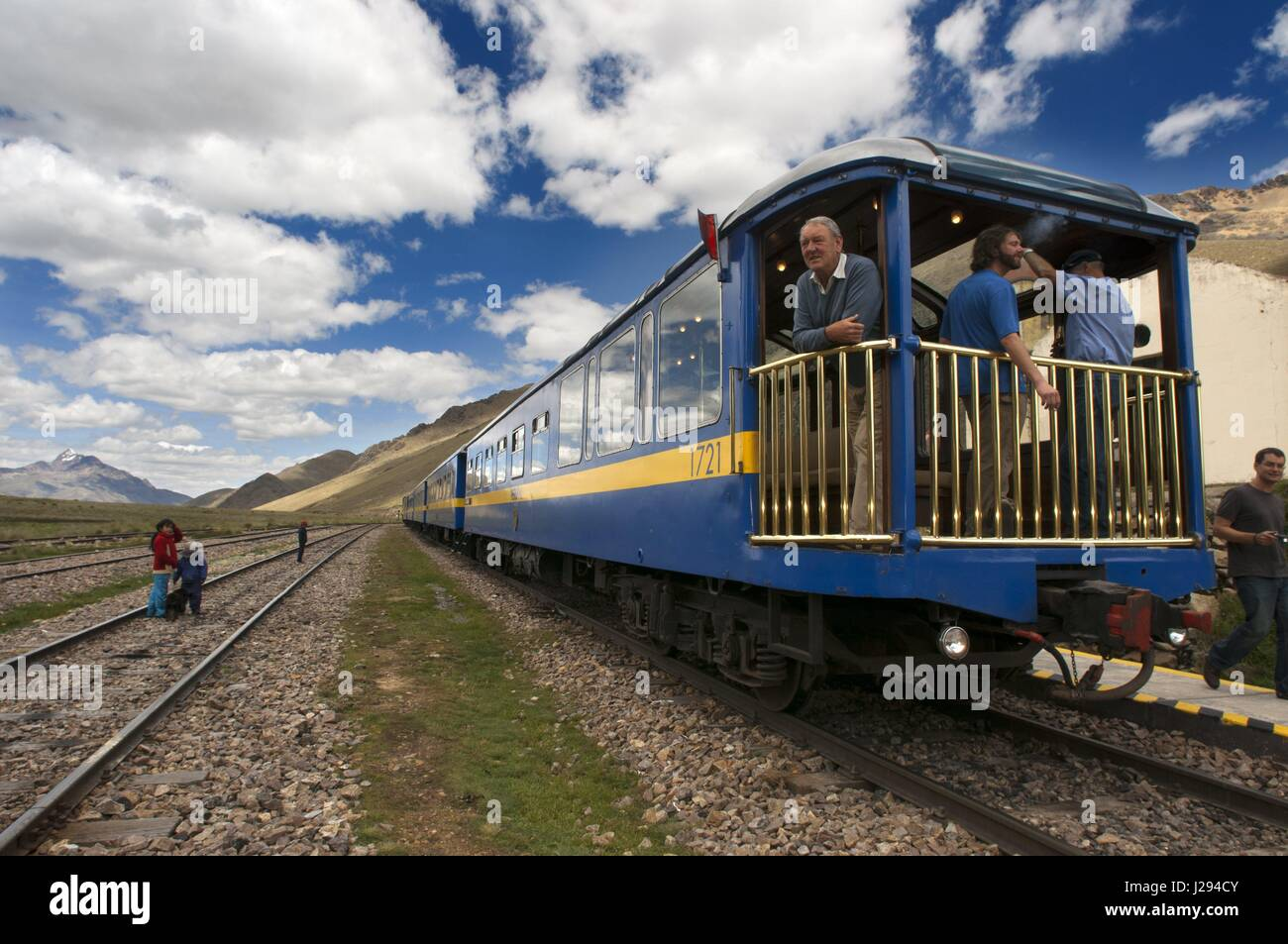 La Raya pass, Puno, Peru. Andean Explorer, luxury train from Cusco to Puno. In half the distance the train makes - Stock Image