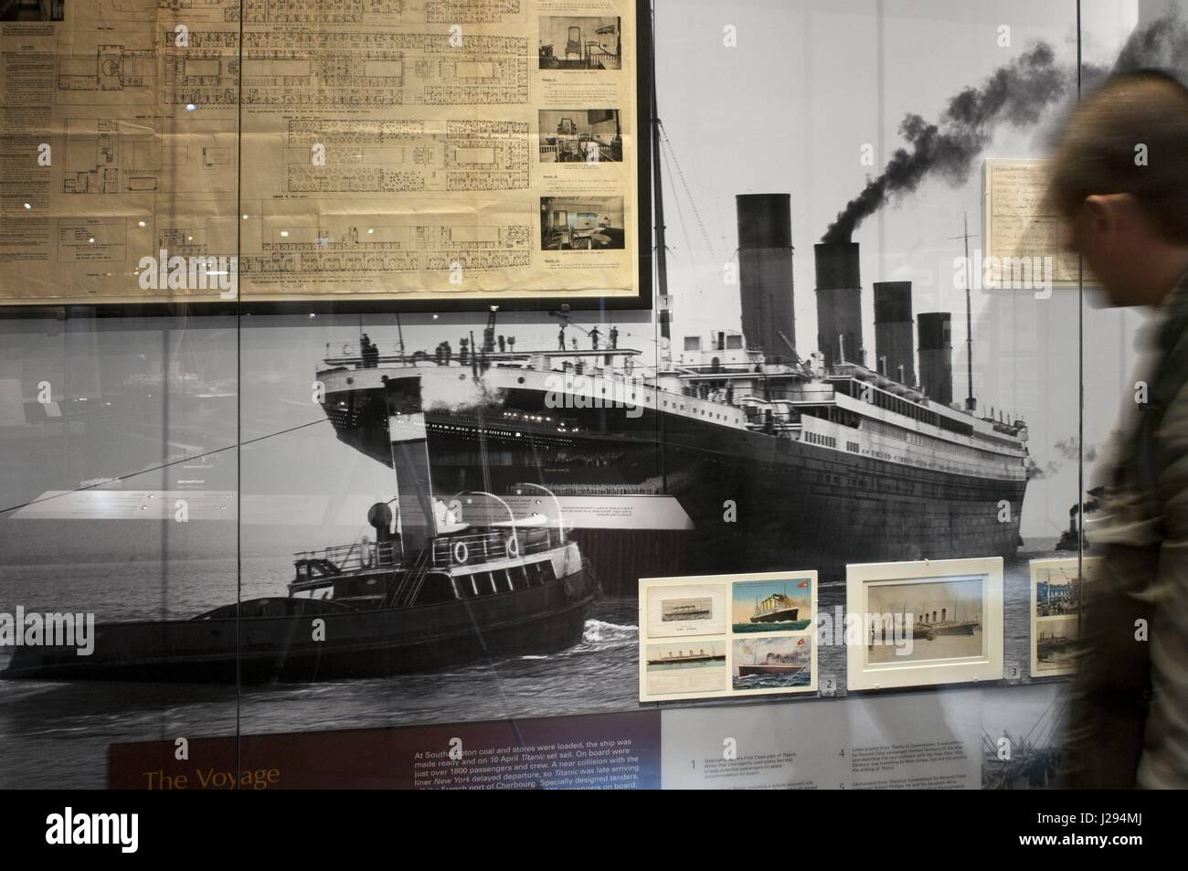 Inside Titanic Belfast museum and Visitors Centre, Titanic Quarter, Belfast, Northern Ireland, UK. Titanic Belfast - Stock Image