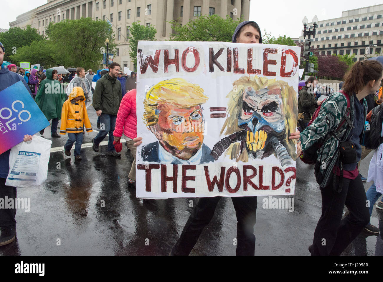 At the March for Science, Washington DC, April 22, 2017 Stock Photo