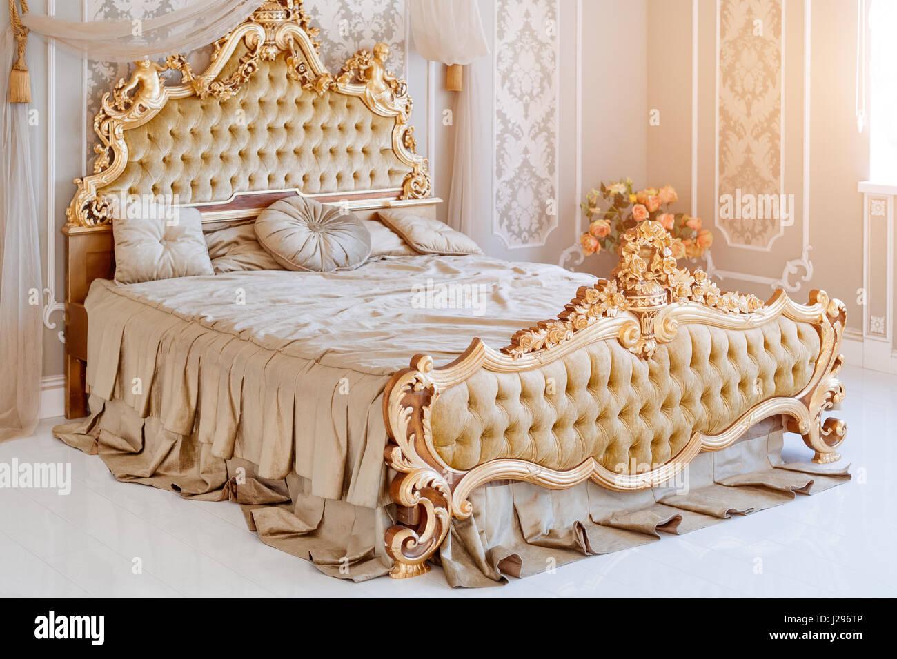 Luxury Bedroom In Light Colors With Golden Furniture Details Big