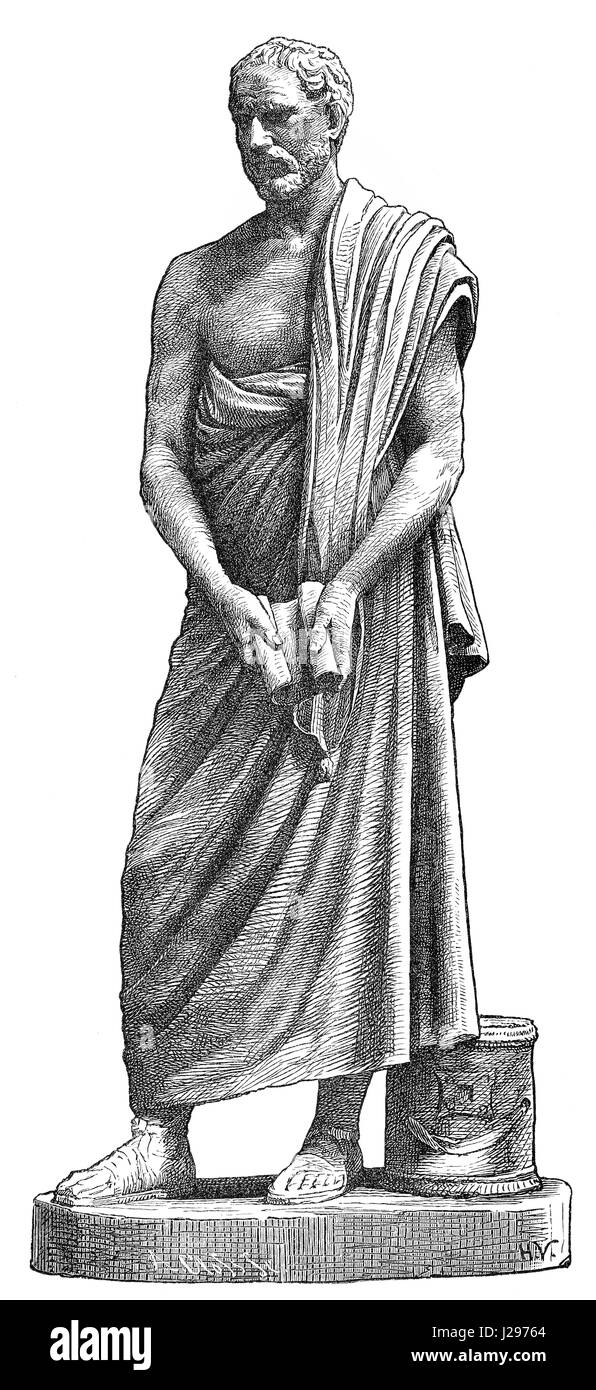 Demosthenes, 384-322 BC, a Greek statesman and orator of ancient Athens - Stock Image