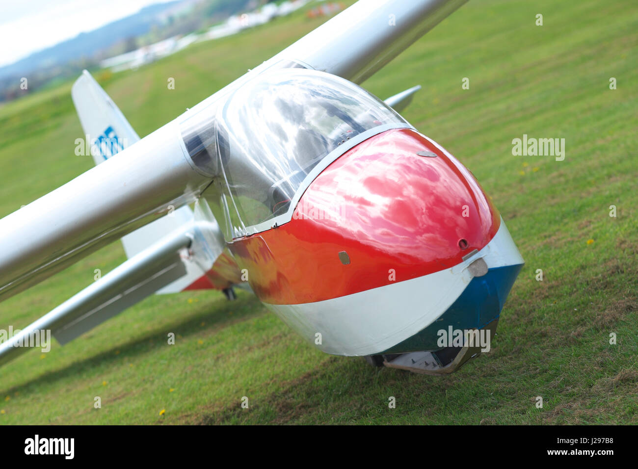 Gliding club Schleicher K7 two seater training glider - Stock Image