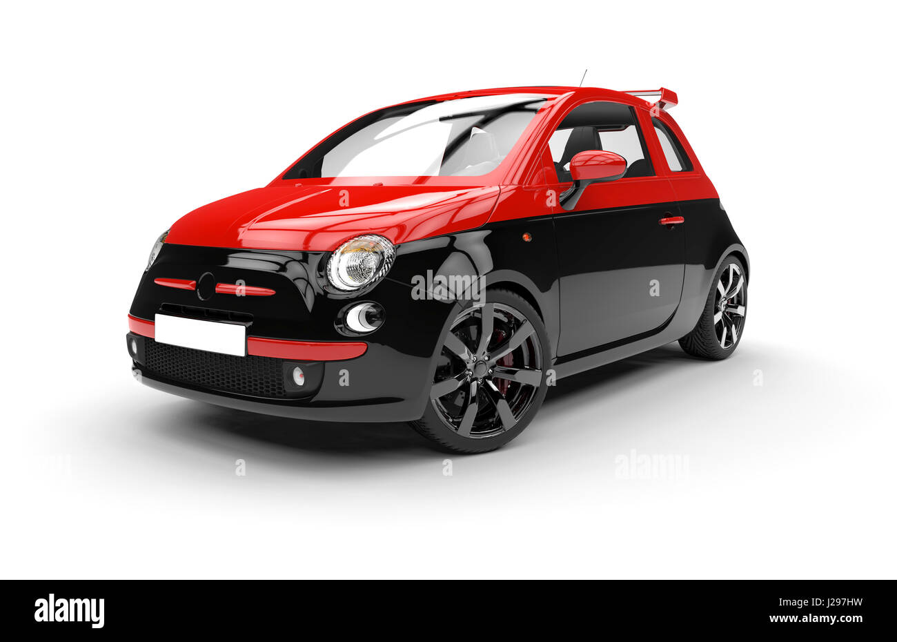 Front of a generic red and black city car isolated on a white background - Stock Image