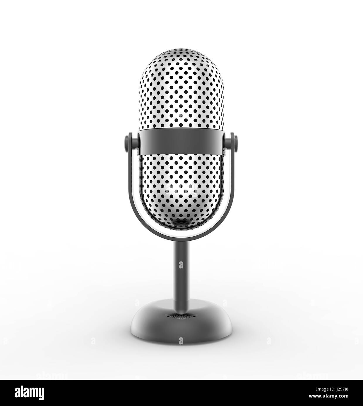 Vintage silver microphone isolated on white background - Stock Image