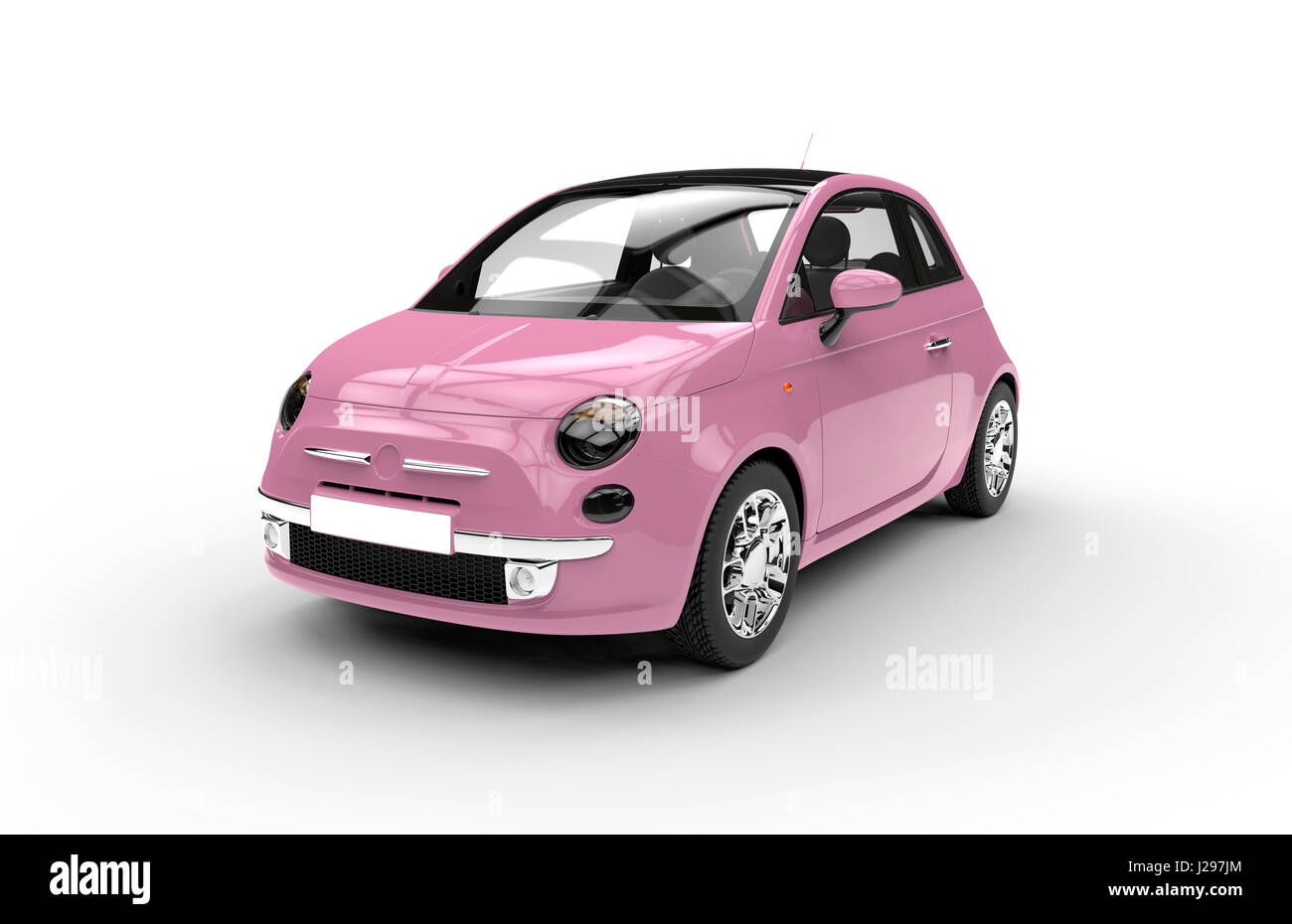 Front of a generic pink city car isolated on a white background - Stock Image