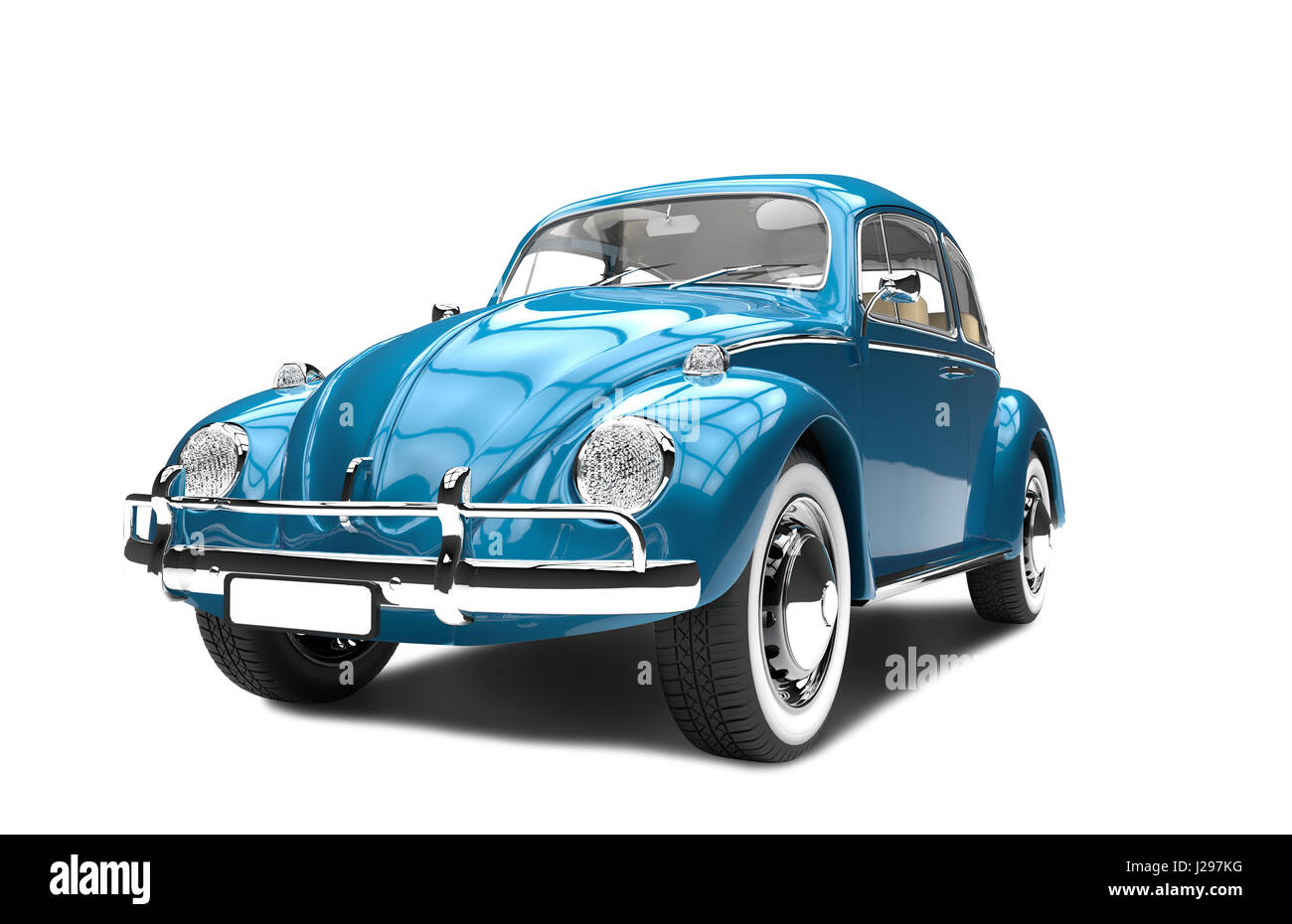 Old generic blue car isolated on a white background - Stock Image
