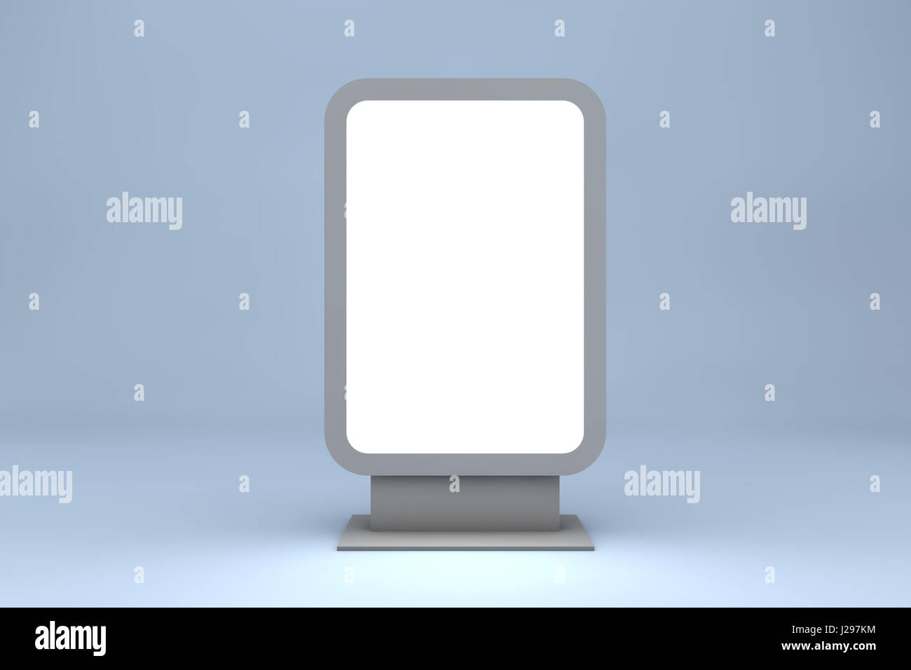Empty billboard for your ad isolated on blue - Stock Image