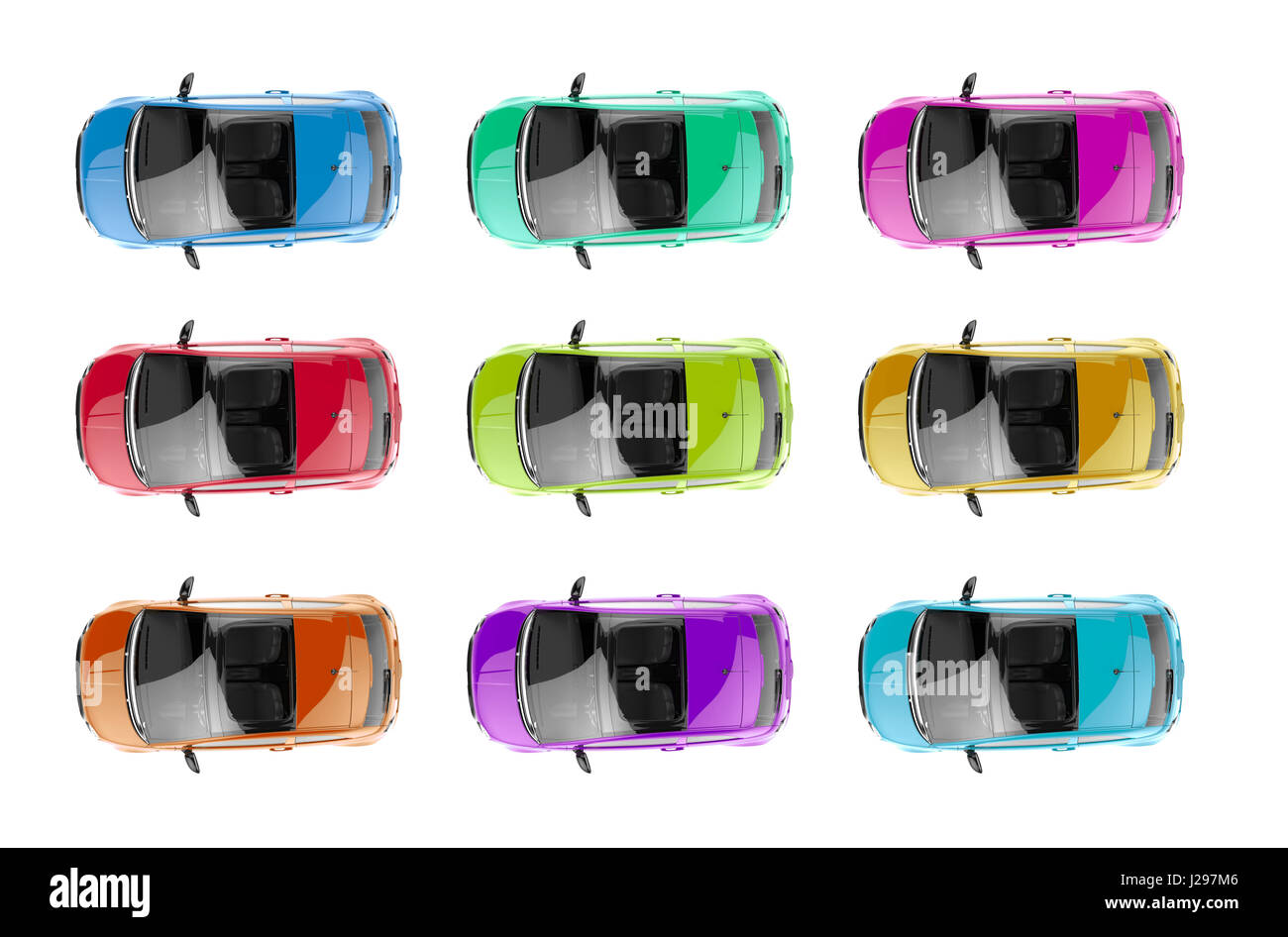 Collection of generic colorful city cars isolated on a white background - Stock Image