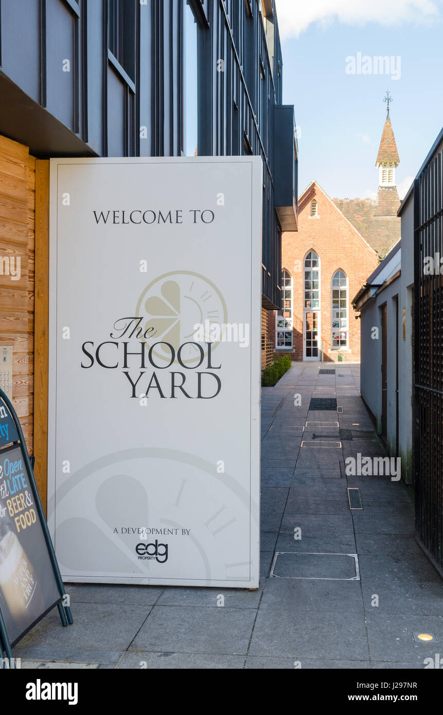 The School Yard in Harborne, a former Victorian school building converted into restaurants and cafes - Stock Image