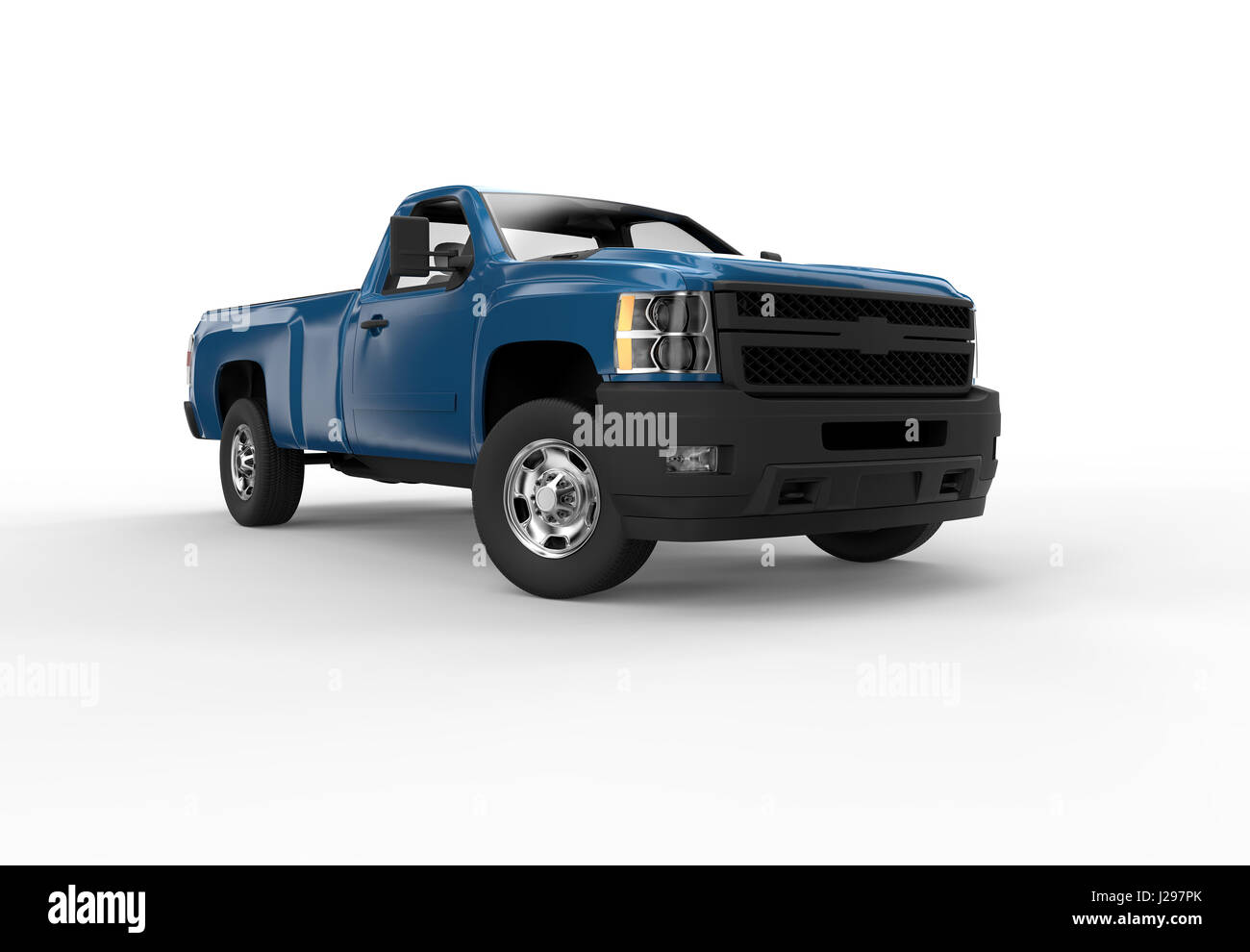 Front of a blue pick up truck isolated on a white background - Stock Image