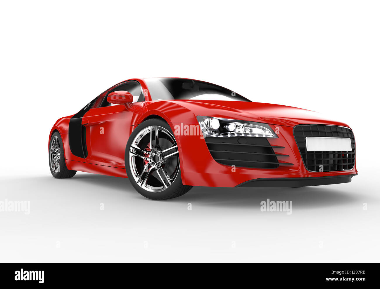 Front of a generic red sport car isolated on a white background - Stock Image