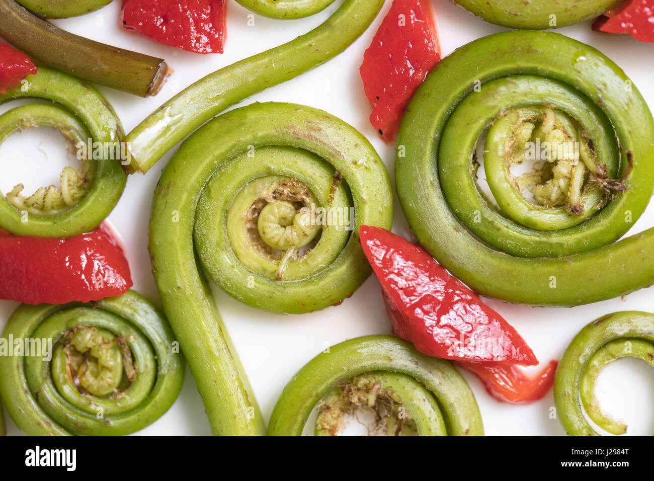 Fiddlehead Ferns and red pepper pieces layed out on a white ceramic plate - Stock Image