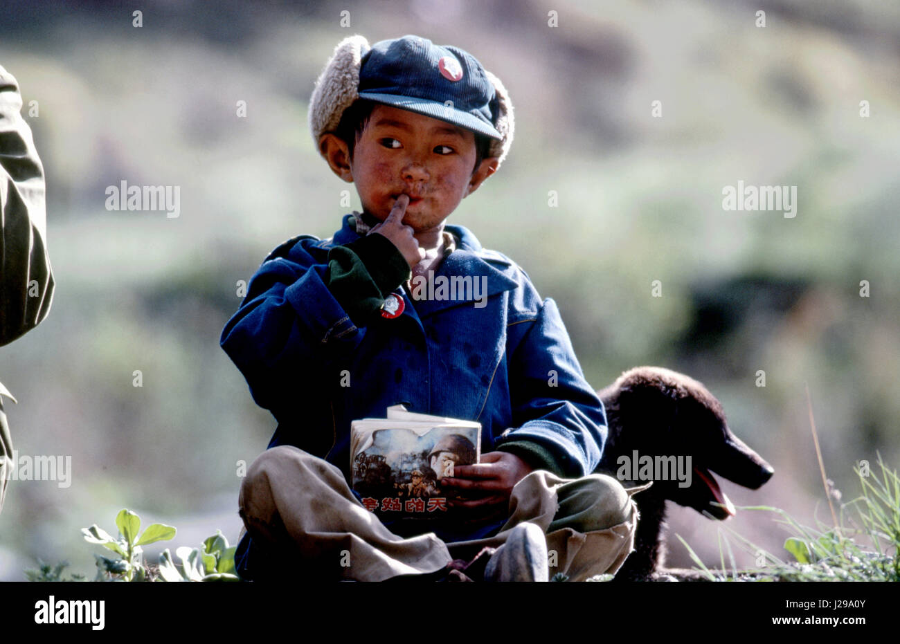 Small boy and his dog, Na Zu Can, Tibet, Sichuan Province, China - Stock Image