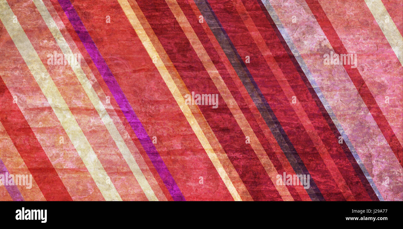 colorful striped background in pink and cream hues, slanted diagonal lines in random pattern on vintage distressed Stock Photo