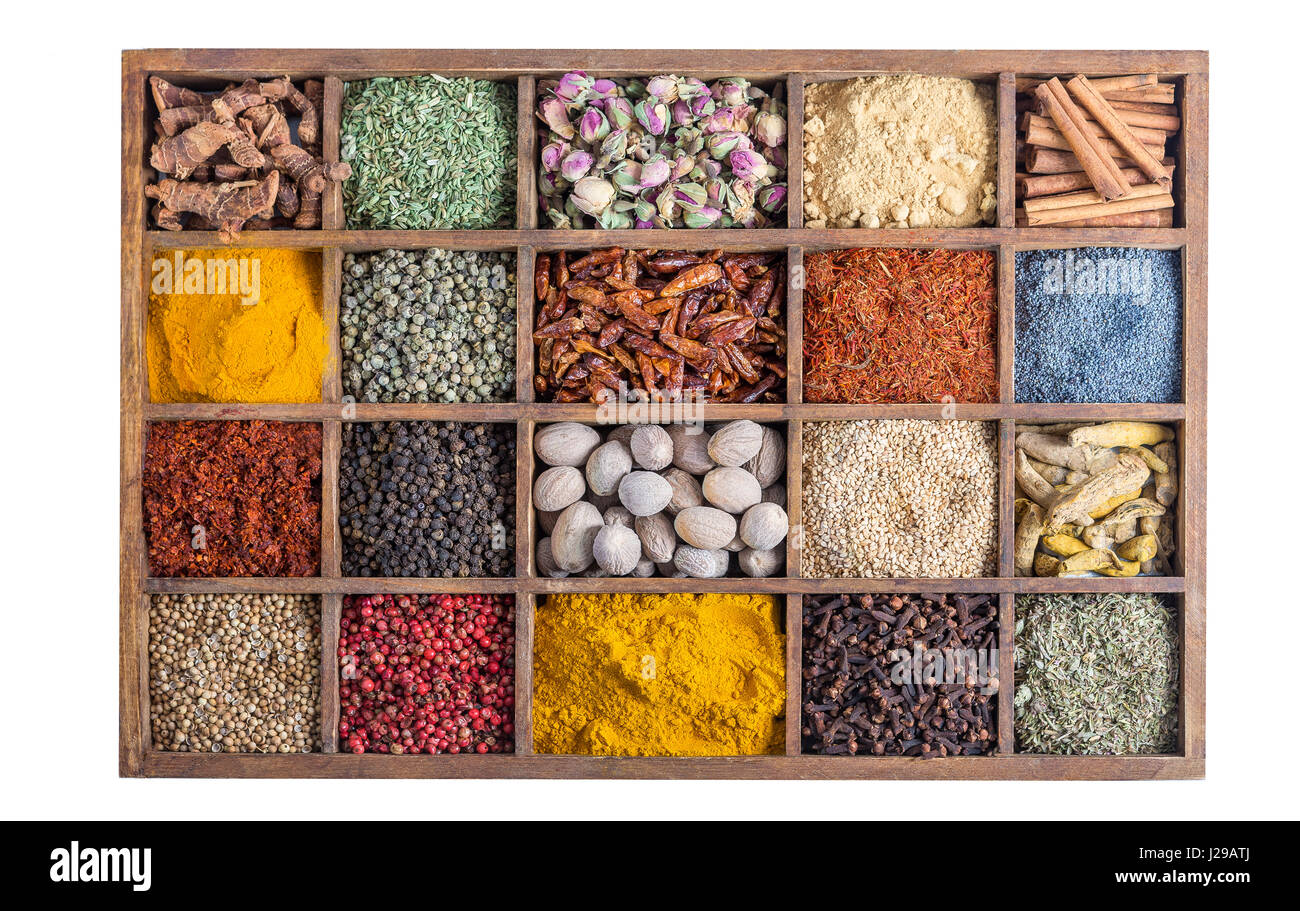wooden box with spices and herbs - Stock Image