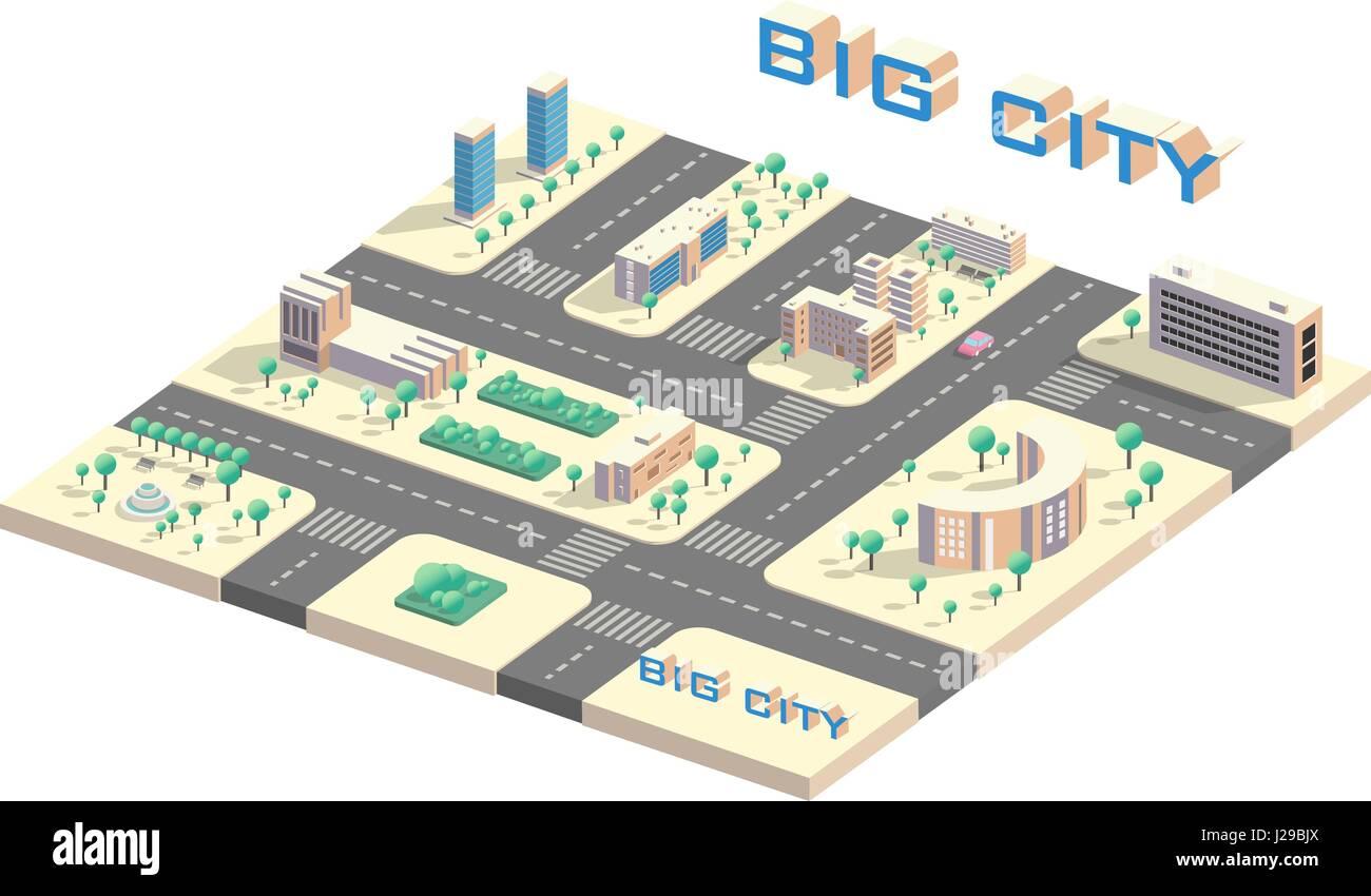 Isometric city map - Stock Image