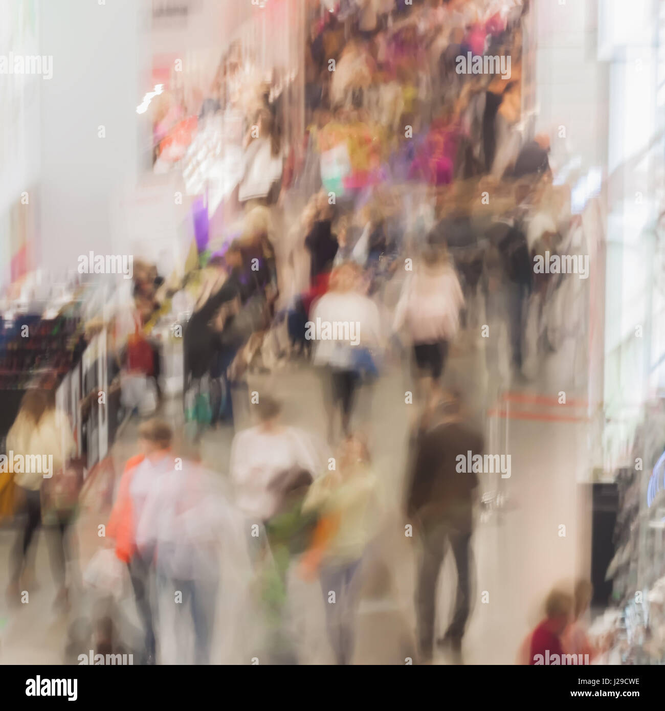 Abstract blurred image of exhibition show market and crowd people, for background usage . - Stock Image