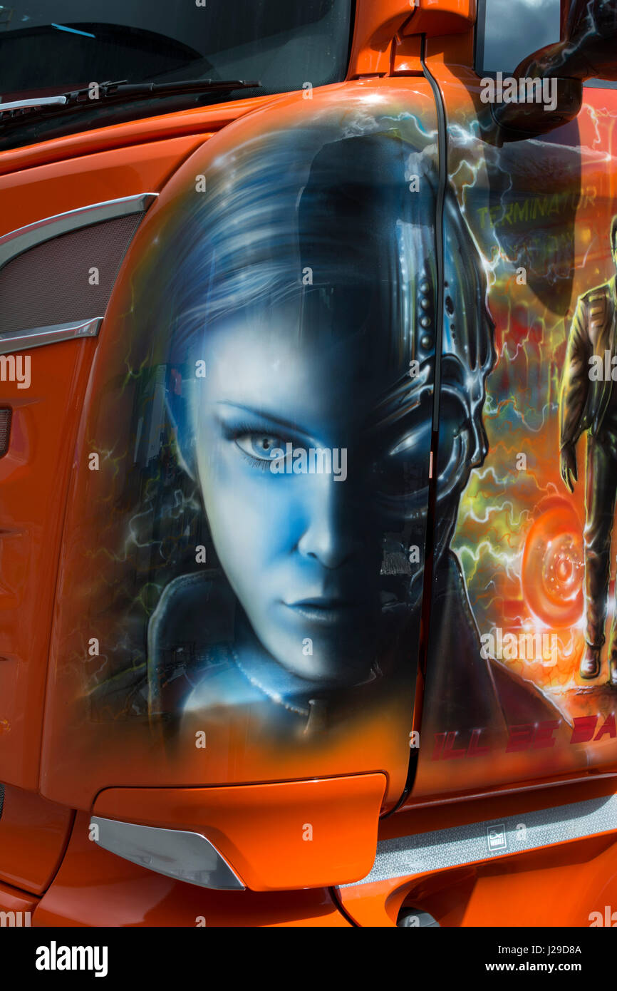 Terminator Judgment Day artwork detail on a Kaiser Whale tanker - Stock Image