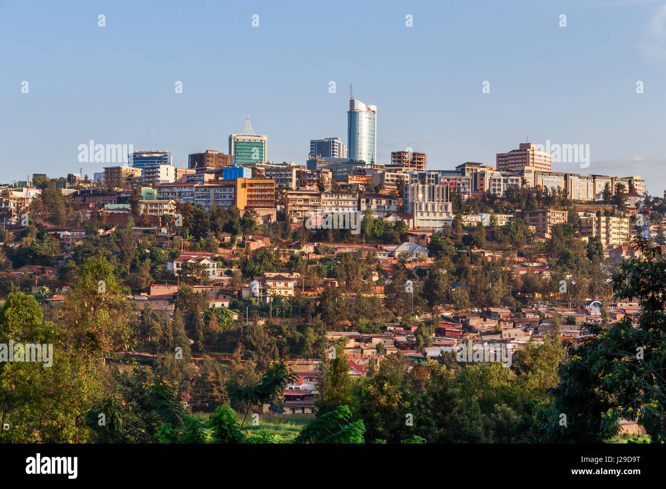 Panoramic view at the city bussiness district of Kigali, Rwanda, 2016 - Stock Image