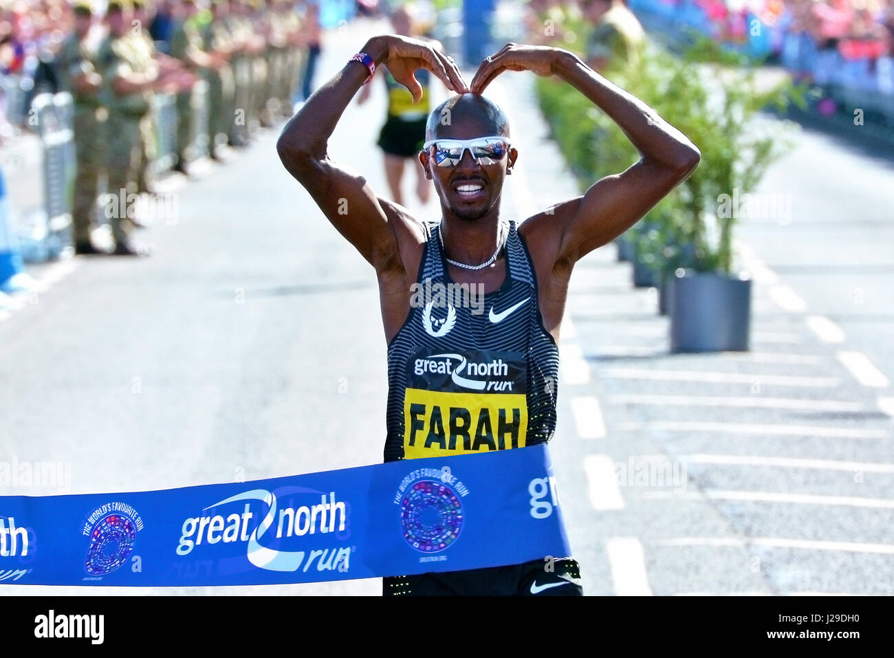 Four-times Olympic gold medallist Mo Farah winning the Great North Run, Sunday 11 September 2016 - Stock Image