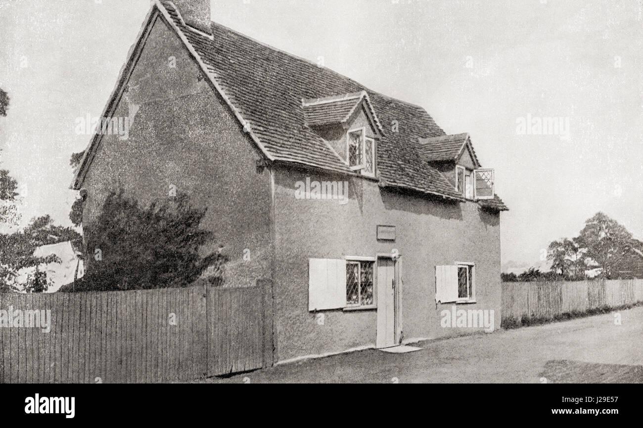 John Bunyan's house in Harrowden, Bedford, England.  John Bunyan, baptised 30 November 1628 – 1688. English - Stock Image