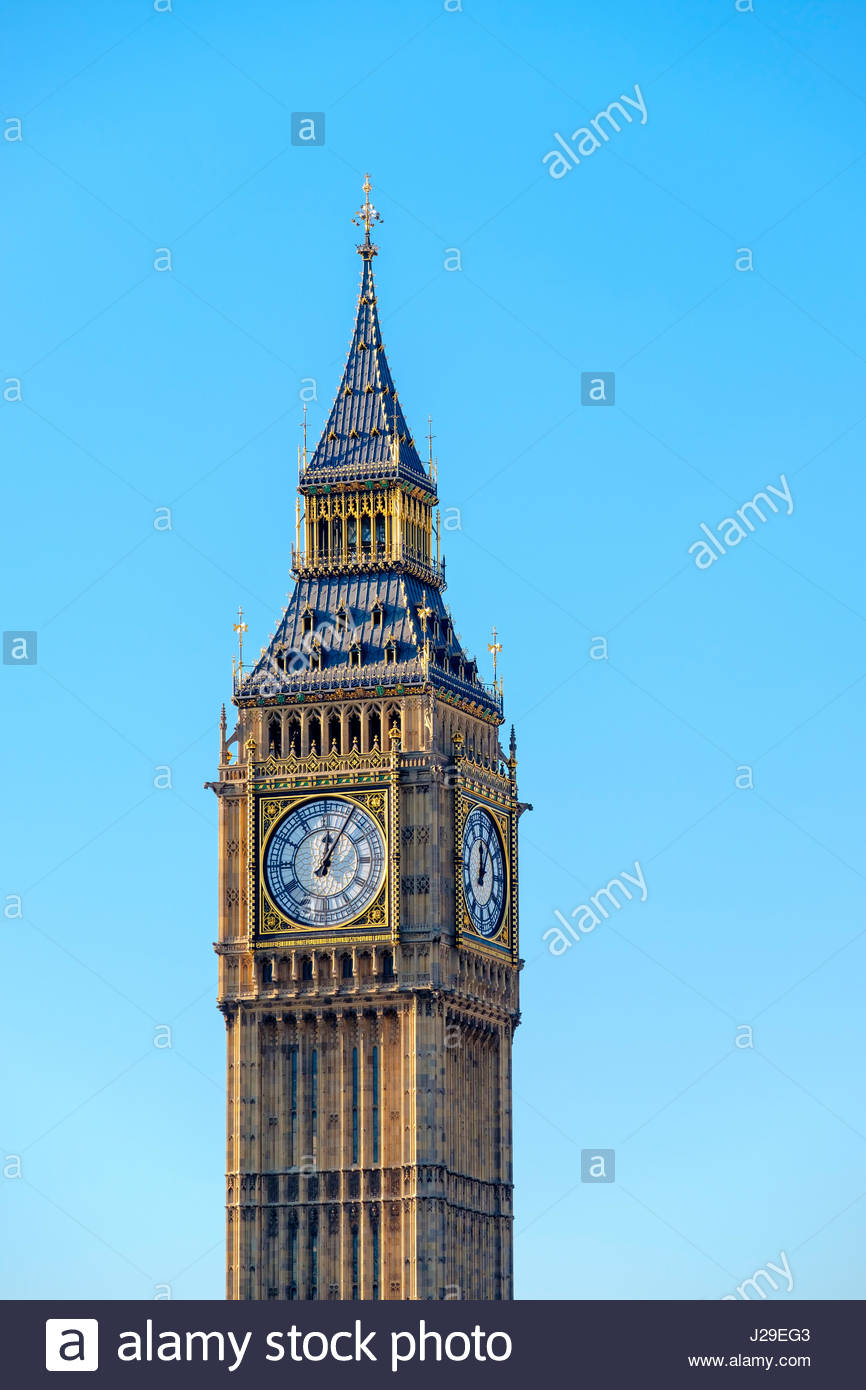 United Kingdom, England, London. Clock tower of Big Ben (Elizabeth Tower), which stands at the north end of the - Stock Image